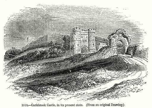 Carisbrook Castle, in its Present State. Illustration from Old England, A Pictorial Museum edited by Charles Knight (James Sangster & Co, c 1845).