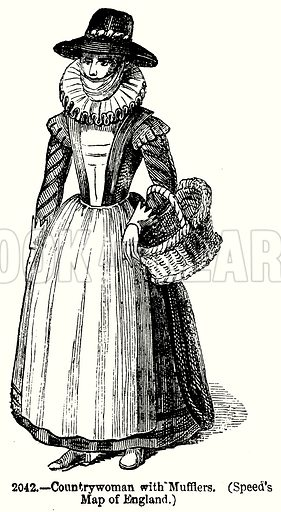 Countrywoman with Mufflers. Illustration from Old England, A Pictorial Museum edited by Charles Knight (James Sangster & Co, c 1845).
