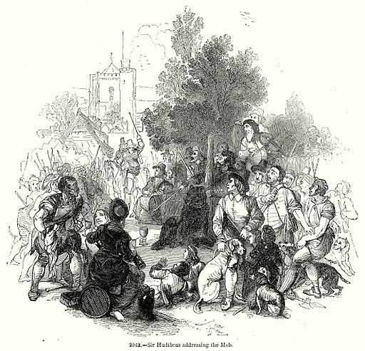 Sir Hudibras addressing the Mob. Illustration from Old England, A Pictorial Museum edited by Charles Knight (James Sangster & Co, c 1845).