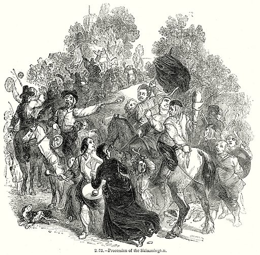 Procession of the Skimmington. Illustration from Old England, A Pictorial Museum edited by Charles Knight (James Sangster & Co, c 1845).
