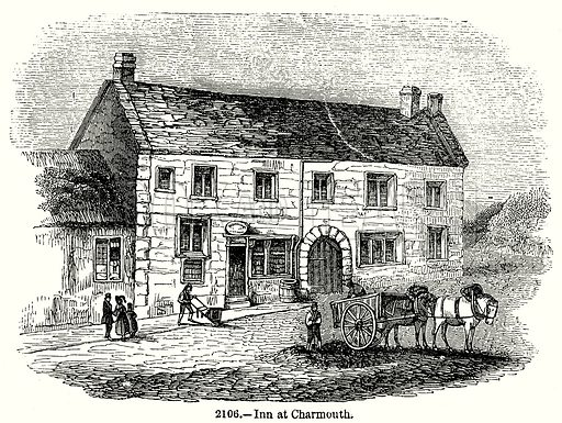 Inn at Charmouth. Illustration from Old England, A Pictorial Museum edited by Charles Knight (James Sangster & Co, c 1845).
