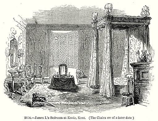 James I's Bedroom at Knole, Kent. Illustration from Old England, A Pictorial Museum edited by Charles Knight (James Sangster & Co, c 1845).