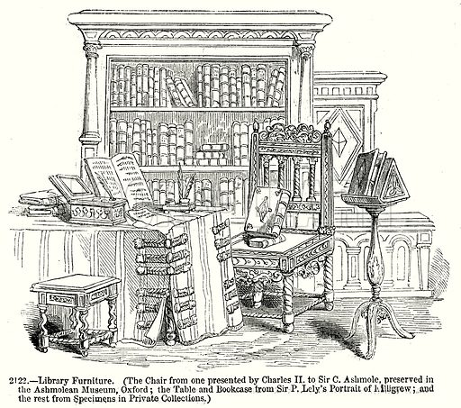 Library Furniture. Illustration from Old England, A Pictorial Museum edited by Charles Knight (James Sangster & Co, c 1845).