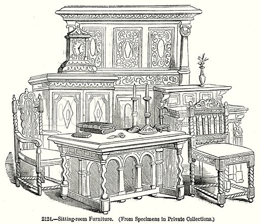 Sitting-Room Furniture. Illustration from Old England, A Pictorial Museum edited by Charles Knight (James Sangster & Co, c 1845).