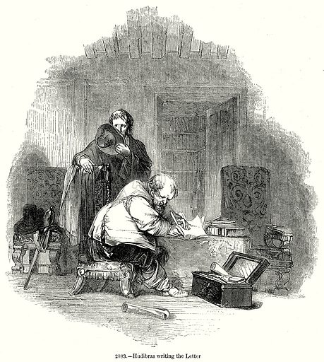 Hudibras writing the Letter. Illustration from Old England, A Pictorial Museum edited by Charles Knight (James Sangster & Co, c 1845).