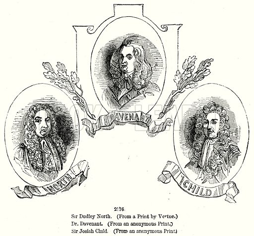Sir Dudley North. Dr. Davenant. Sir Josiah Child. Illustration from Old England, A Pictorial Museum edited by Charles Knight (James Sangster & Co, c 1845).