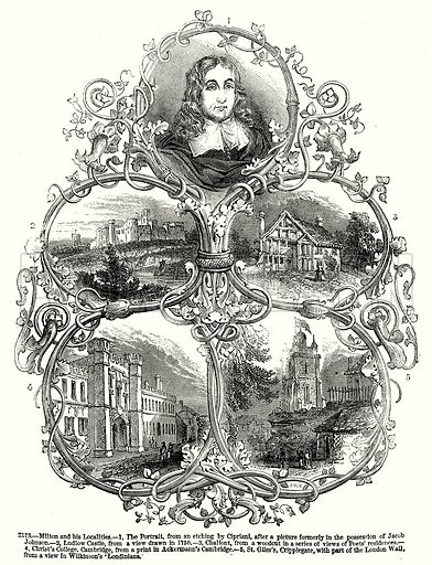 Milton and his Localities.--1, The Portrait.--2, Ludlow Castle.--3, Chalfont.--4, Christ's College, Cambridge.--5, St. Giles's, Cripplegate, with Part of the London Wall. Illustration from Old England, A Pictorial Museum edited by Charles Knight (James Sangster & Co, c 1845).