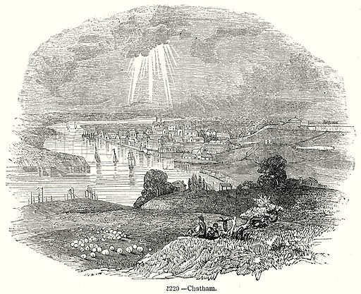 Chatham. Illustration from Old England, A Pictorial Museum edited by Charles Knight (James Sangster & Co, c 1845).