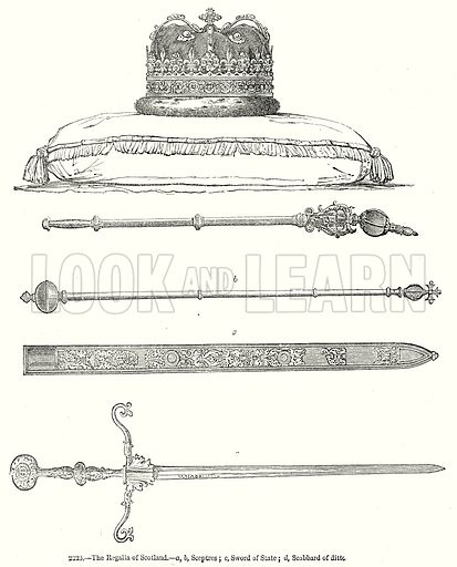 The Regalia of Scotland.--a, b, Sceptres; c, Sword of State; d, Scabbard of Ditto. Illustration from Old England, A Pictorial Museum edited by Charles Knight (James Sangster & Co, c 1845).