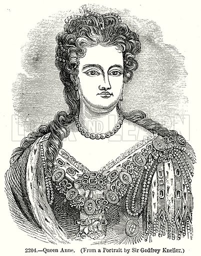 Queen Anne. Illustration from Old England, A Pictorial Museum edited by Charles Knight (James Sangster & Co, c 1845).