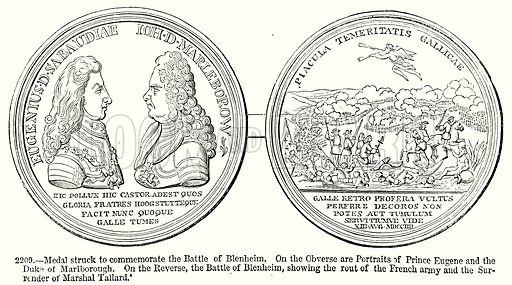 Medal Struck to Commemorate the Battle of Blenheim. On the Obverse are Portraits of Prince Eugene and the Duke of Marlborough. On the Reverse, the Battle of Blenheim, showing the rout of the French Army and the Surrender of Marshal Tallard. Illustration from Old England, A Pictorial Museum edited by Charles Knight (James Sangster & Co, c 1845).