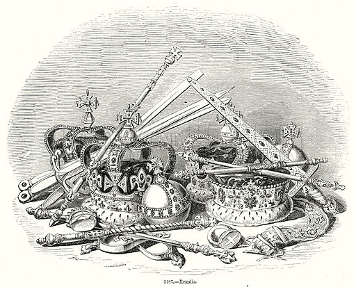 Regalia. Illustration from Old England, A Pictorial Museum edited by Charles Knight (James Sangster & Co, c 1845).