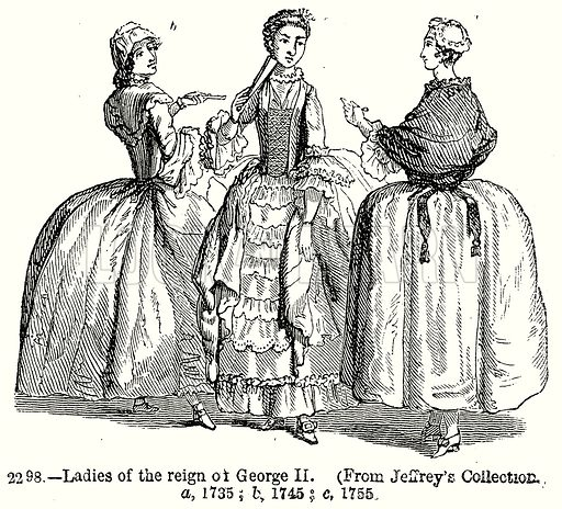 Ladies of the Reign of George II. a, 1735; b, 1745; c, 1755. Illustration from Old England, A Pictorial Museum edited by Charles Knight (James Sangster & Co, c 1845).