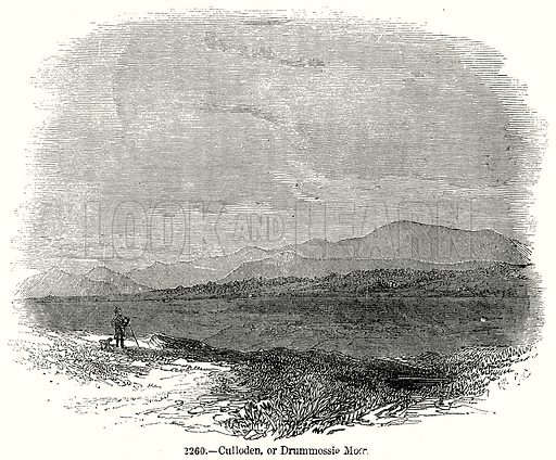 Culloden, or Drummossie Moor. Illustration from Old England, A Pictorial Museum edited by Charles Knight (James Sangster & Co, c 1845).