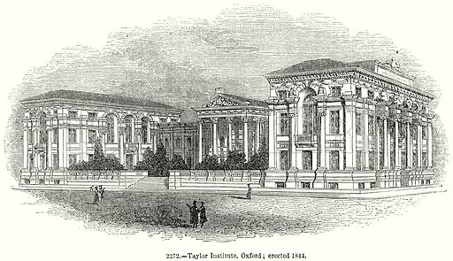 Taylor Institute, Oxford; erected 1844. Illustration from Old England, A Pictorial Museum edited by Charles Knight (James Sangster & Co, c 1845).