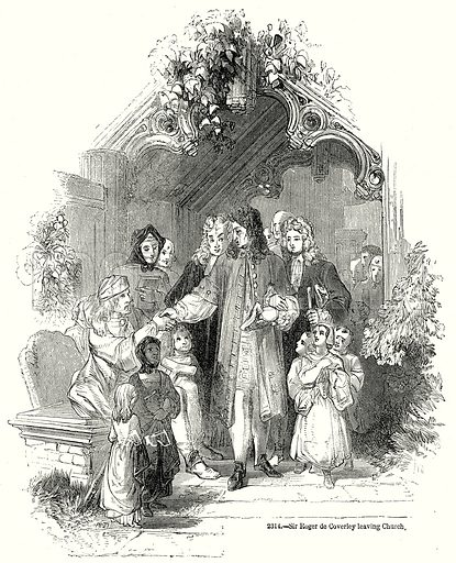 Sir Roger de Coverley Leaving Church. Illustration from Old England, A Pictorial Museum edited by Charles Knight (James Sangster & Co, c 1845).