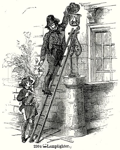 Lamplighter. Illustration from Old England, A Pictorial Museum edited by Charles Knight (James Sangster & Co, c 1845).