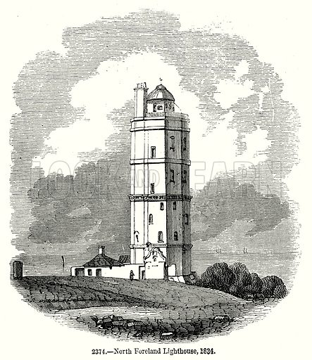 North Foreland Lighthouse, 1834. Illustration from Old England, A Pictorial Museum edited by Charles Knight (James Sangster & Co, c 1845).