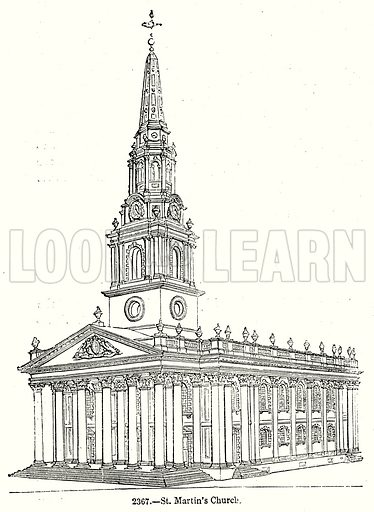 St Martin's Church. Illustration from Old England, A Pictorial Museum edited by Charles Knight (James Sangster & Co, c 1845).