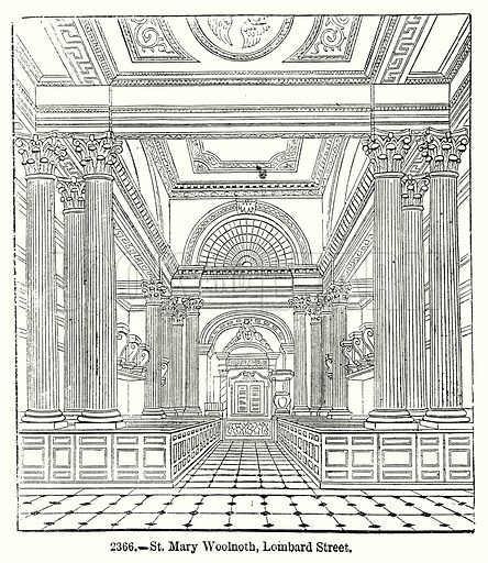 St Mary Woolnoth, Lombard Street. Illustration from Old England, A Pictorial Museum edited by Charles Knight (James Sangster & Co, c 1845).