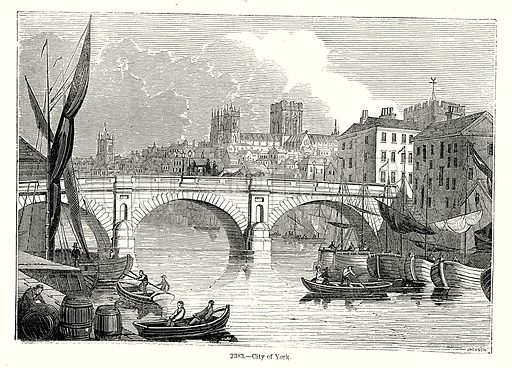 City of York. Illustration from Old England, A Pictorial Museum edited by Charles Knight (James Sangster & Co, c 1845).