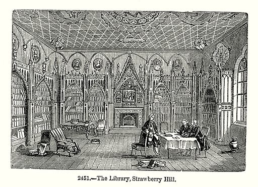 The Library, Strawberry Hill. Illustration from Old England, A Pictorial Museum edited by Charles Knight (James Sangster & Co, c 1845).