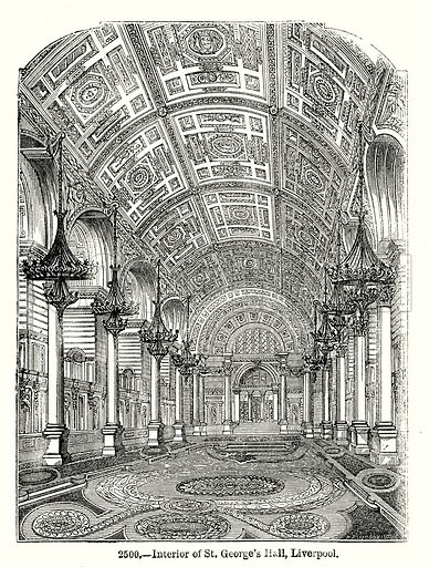 Interior of St George's Hall, Liverpool. Illustration from Old England, A Pictorial Museum edited by Charles Knight (James Sangster & Co, c 1845).