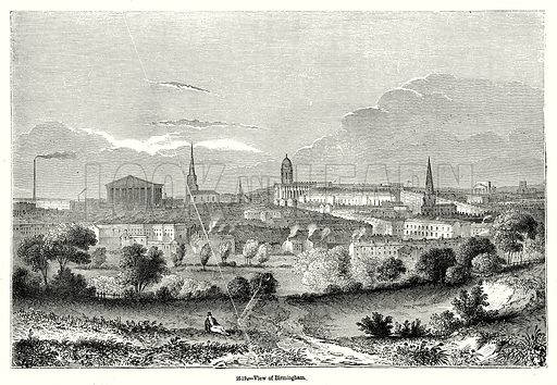 View of Birmingham. Illustration from Old England, A Pictorial Museum edited by Charles Knight (James Sangster & Co, c 1845).