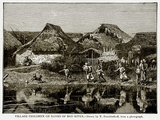 Village Children on Banks of Red River. Illustration from With the World's People by John Clark Ridpath (Clark E Ridpath, 1912).