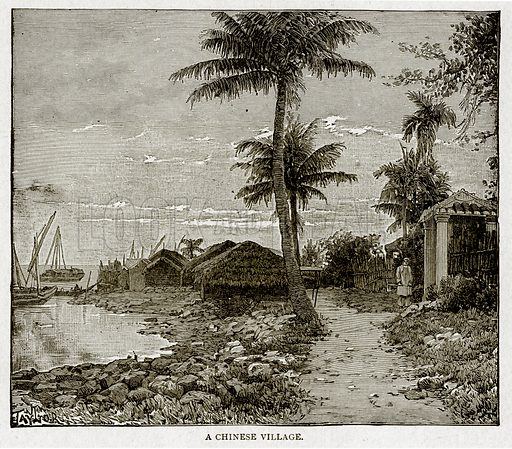 A Chinese Village. Illustration from With the World's People by John Clark Ridpath (Clark E Ridpath, 1912).