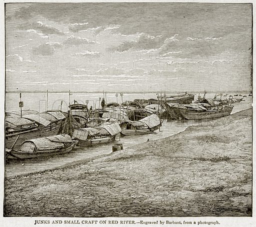Junks and Small Craft on Red River. Illustration from With the World's People by John Clark Ridpath (Clark E Ridpath, 1912).