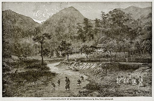 Corean Landscape – View of Sang-San-Natri. Illustration from With the World's People by John Clark Ridpath (Clark E Ridpath, 1912).