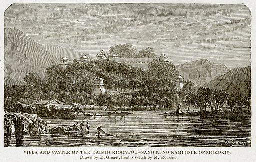Villa and Castle of the Caimio Kiogatou – Sano-Ki-No-Kami (Isle of Shikoku). Illustration from With the World's People by John Clark Ridpath (Clark E Ridpath, 1912).
