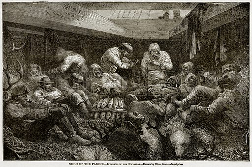 Nidus of the Plague. – Interior of the Nicholas. Illustration from With the World's People by John Clark Ridpath (Clark E Ridpath, 1912).