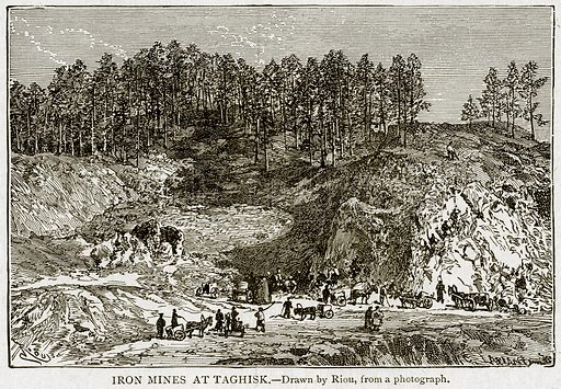 Iron Mines at Taghisk. Illustration from With the World's People by John Clark Ridpath (Clark E Ridpath, 1912).