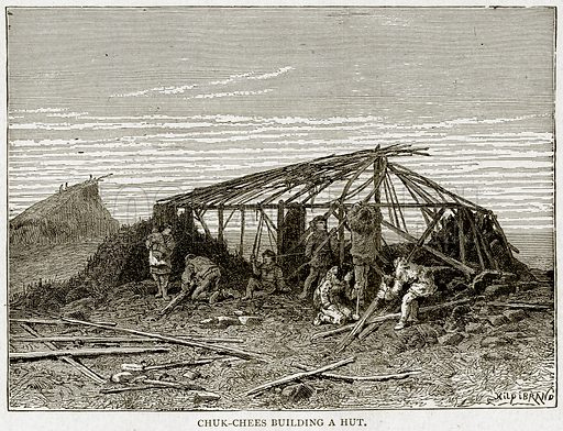 Chuk-Cheets Building a Hut. Illustration from With the World