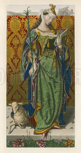 Saint Agnes, c 1520, from a Picture by Lucas van Leyden. Illustration from Dresses and Decorations (Henry G Bohn, 1858). Picture created from original manuscript and other material.
