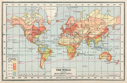 The World showing Mean Annual Rainfall. Illustration for Countries of the World by J A Hammerton (Fleetway, c 1925).