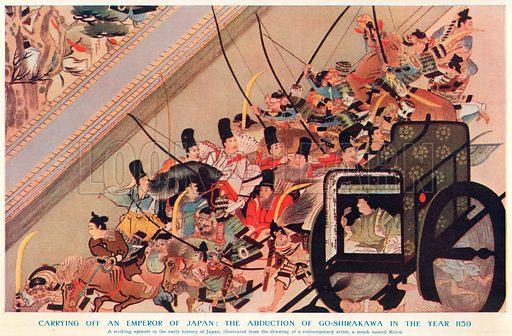 Carrying off an Emperor of Japan: The Abduction of Go-Shirakawa in the year 1159. Illustration for Harmsworth History of the World (1907).