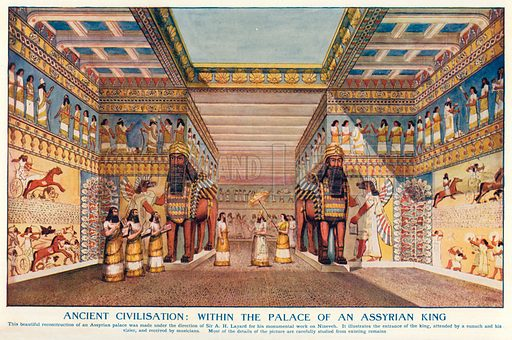 Ancient Civilisation: Within the Palace of an Assyrian King. Illustration for Harmsworth History of the World (1907).