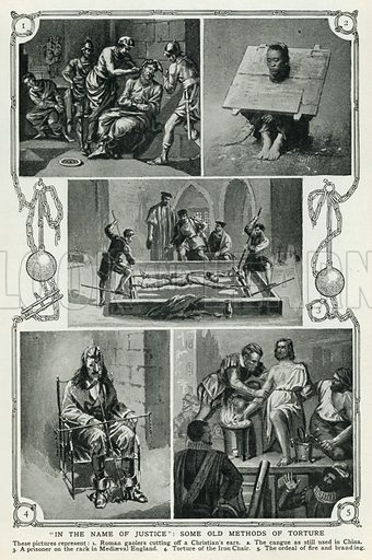 """""""In the Name of Justice"""": Some Old Methods of Torture. Illustration for Harmsworth History of the World (1907)."""