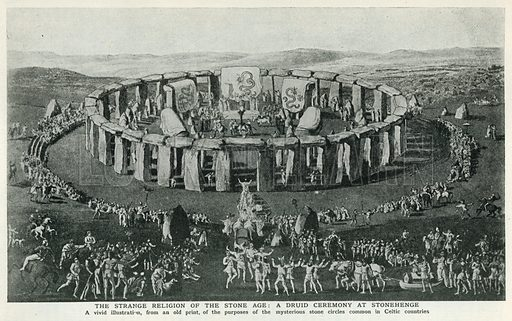 The Strange Religion of the Stone Age: A Druid Ceremony at Stonehenge. Illustration for Harmsworth History of the World (1907).
