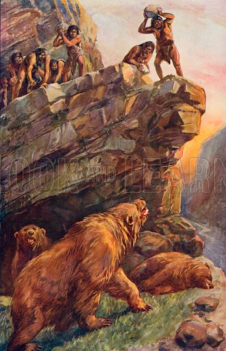 Prehistoric Men Attacking the Great Cave Bears. Illustration for Harmsworth History of the World (1907).