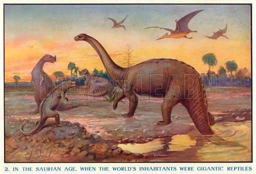 In the Saurian Age, when the World's Inhabitants were Gigantic Reptiles. Illustration for Harmsworth History of the World (1907).
