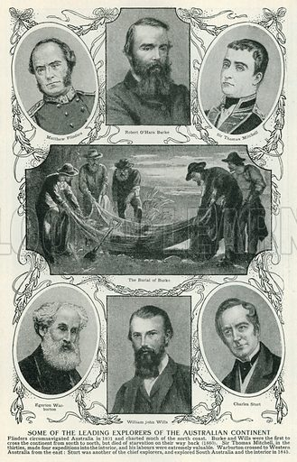 Some of the Leading Explorers of the Australian Continent. Illustration for Harmsworth History of the World (1907).