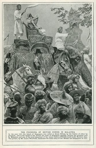 The Founding of British Power in Malaysia. Illustration for Harmsworth History of the World (1907).