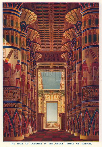 The Hall of Columns in the Great Temple of Karnak. Illustration for Harmsworth History of the World (1907).