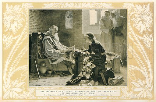 The Venerable Bede on his Death-Bed Dictating his Translation of the Gospel of St. John. Illustration for Harmsworth History of the World (1907).