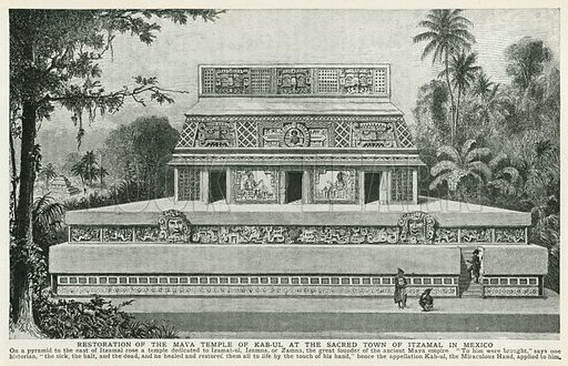 Restoration of the Maya Temple of Kab-Ul at the Sacred Town of Itzamal in Mexico. Illustration for Harmsworth History of the World (1907).