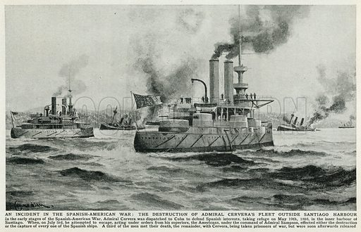 An Incident in the Spanish-American War: The Destruction of Admiral Cervera's Fleet Outside Santiago Harbour. Illustration for Harmsworth History of the World (1907).
